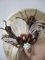 Natural Peacock Brown Pheasant Cream Nudes Feathers Bridal Wedding Fascinator Hair Clip
